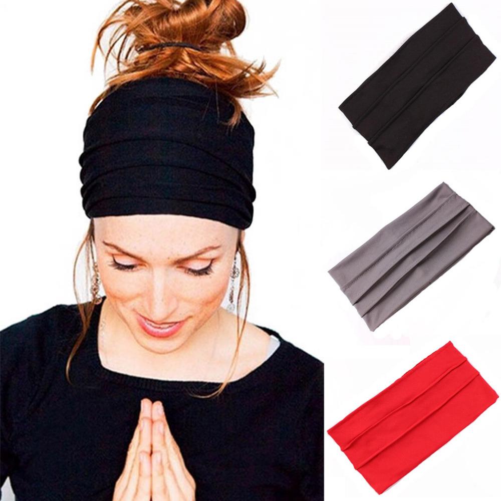 1 PC Women Hair Accessories Wide Sports Yoga Headband Stretch Hairband Elastic Hair Band Turban Running Dance Biker Headwrap(China (Mainland))