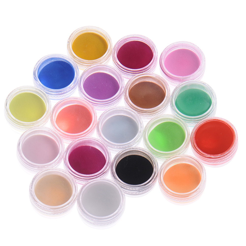 18Pcs/Set Mix Colors Acrylic Nail Art Dust Powder Decoration for Nail Art Decorations(China (Mainland))