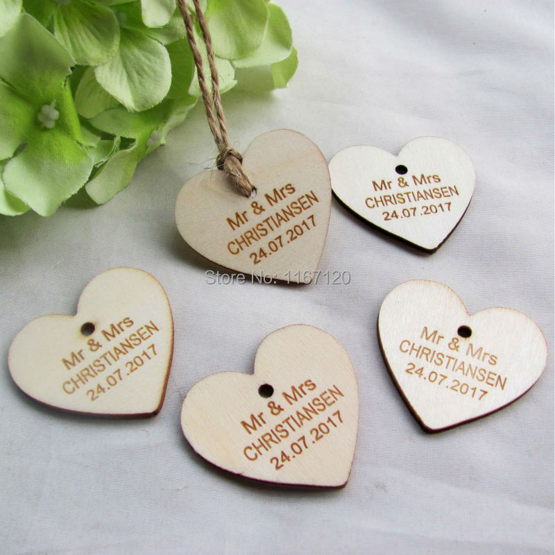 200pieces Personalized wedding name and date wooden Love Heart Wedding Card Wish Tree Gift Tags +Jute String 40mm*37mm(China (Mainland))