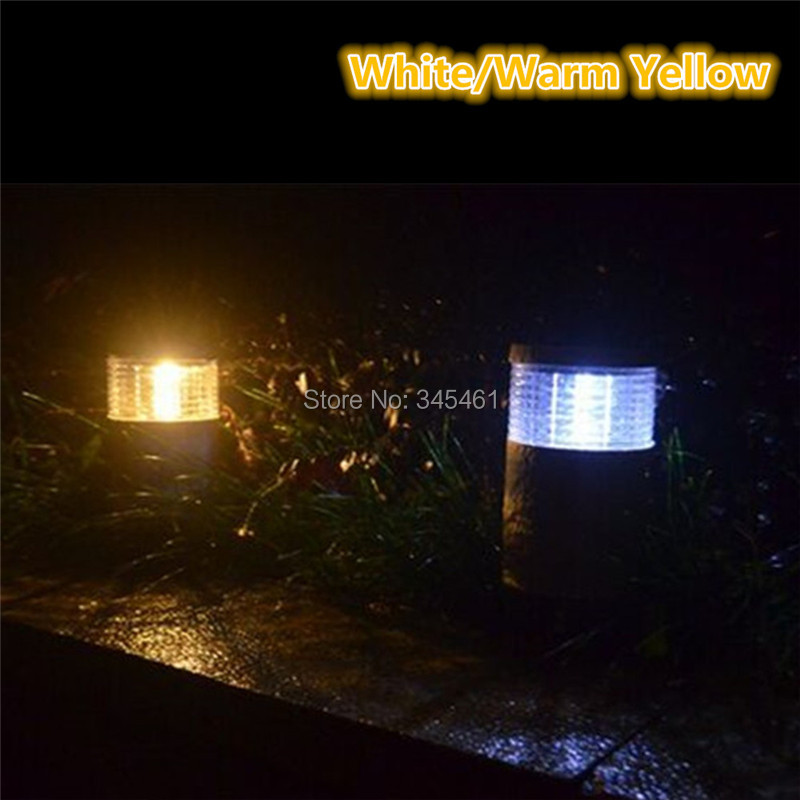 2 X Solar Powered Garden Led Stair Lamp, ABS Solar Lawn Landscape Light, Creative Street Emergency Lamps, White/Warm Yellow<br><br>Aliexpress