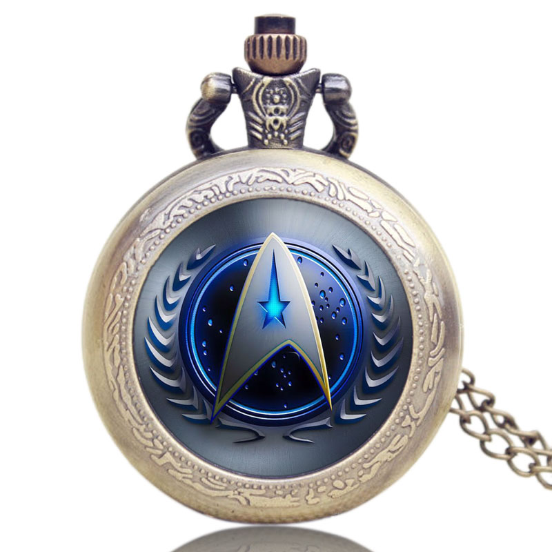 New Arrive Star Trek Pendant Necklace Quartz Watch Cosplay Fashion Movie Theme Pocket Watches(China (Mainland))