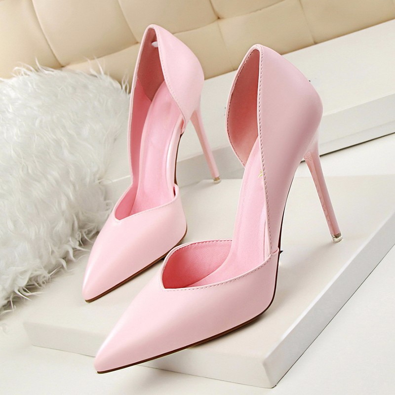 Spring Sexy High Heel Shoes Women Pumps Plus Size Thin Spike Heel Shallow Opening Single Leather Lady Wedding Shoes ZK35