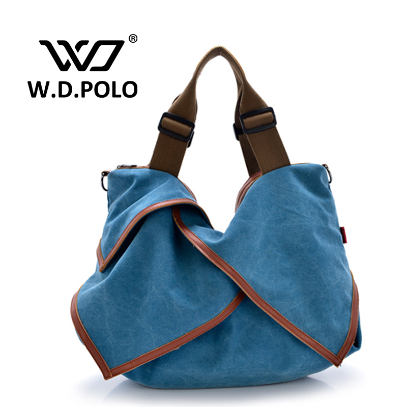 W.D.POLO canvas large tote casual tote travel bag shopping bag women messenger bag lady handbags 5 colors in high quality M1633(China (Mainland))