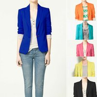Women's Blazers Candy color lined with striped Z suit 2015 Za new hot stylish and comfortable  W4100