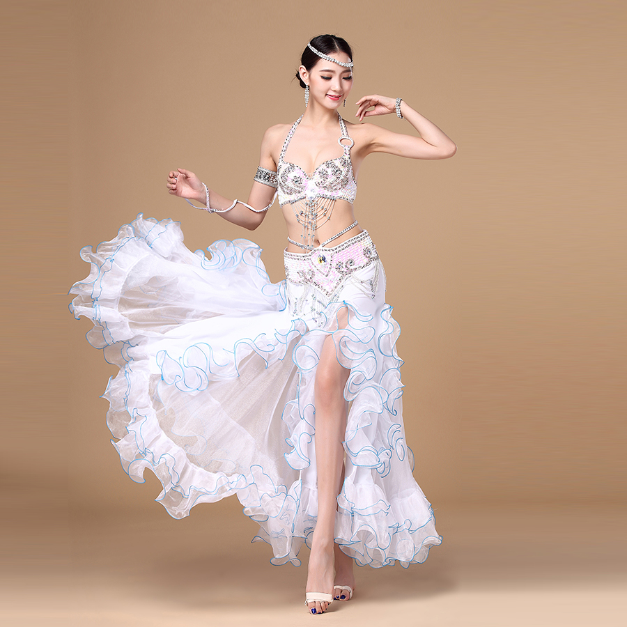 New Arrivals Performance Oriental Belly Dancing Clothes 3-piece Suit Bead Bra, Belt and Skirt Belly Dance Costume Set(China (Mainland))