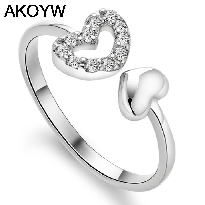 Silver plated double love opening ring hollow female models fashion cute vintage jewelry manufacturers, wholesale jewelry(China (Mainland))