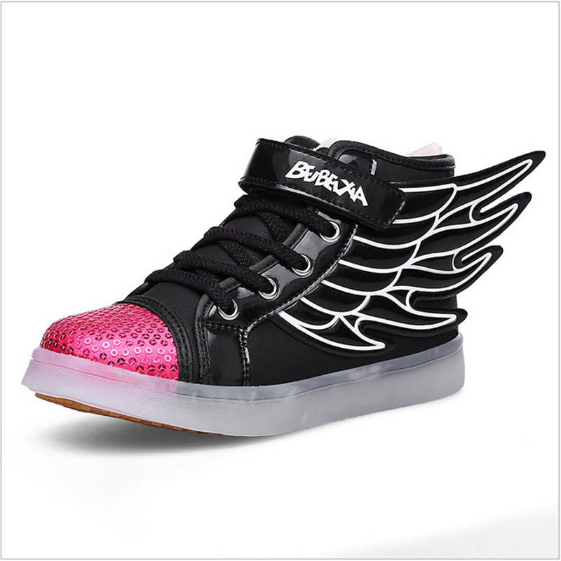 Children Shoes With Light Kids Light Up Shoes With Wings Led Lighted Shoes For Kids Glowing Sneakers Chaussure Led Enfant FG19<br><br>Aliexpress