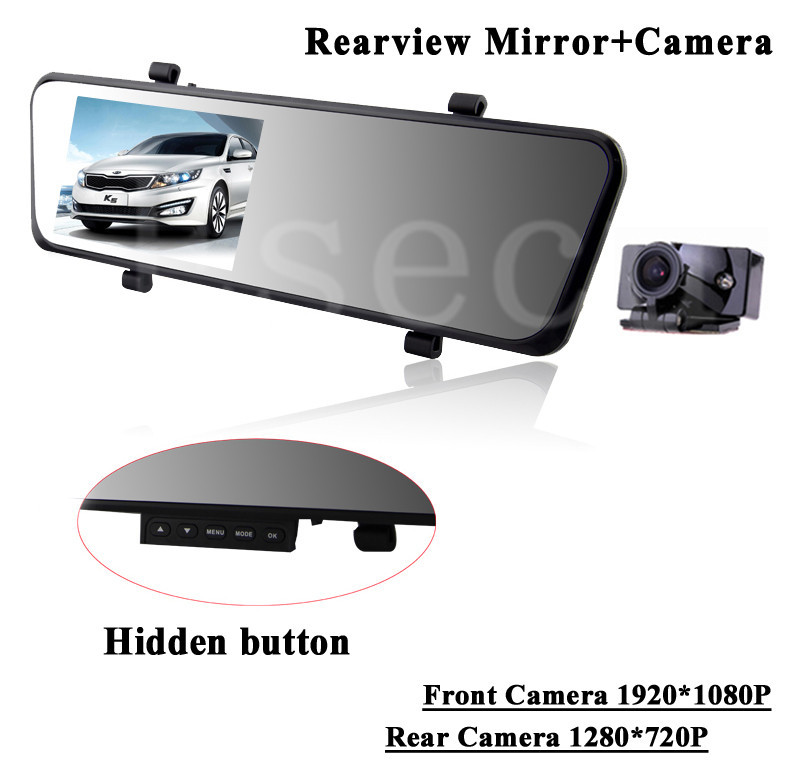 gps dual lens 140 angle fhd rearview mirror 4 3 inch hd 720p car reariew camera with hidden. Black Bedroom Furniture Sets. Home Design Ideas