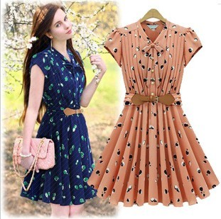 2014 summer fashion brand bohemia design dress embroidery print for women elegant leather belt pleated woman top plus size