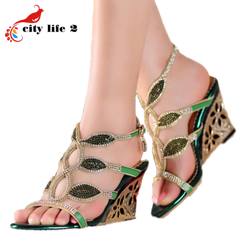 Hollow Out Wedge Sandals 2016 New High Heels Sandals Genuine Leather Shoes Fashion Sexy Diamond Rome Zapatos Mujer Verano <br><br>Aliexpress