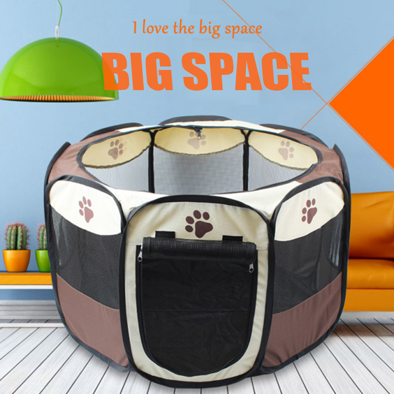 Two Different Sizes Foldable Fence Exercise Pen Cage Pet Dog Puppy Playpen Kennel Oxford Tent #86329(China (Mainland))