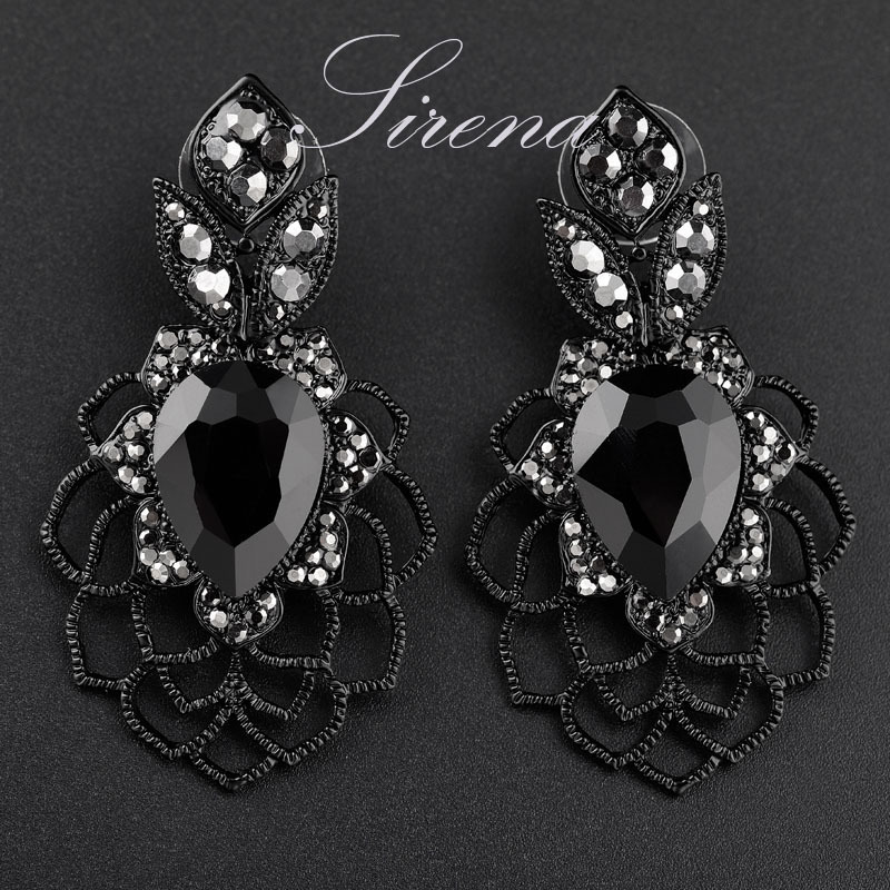 EC099 Luxury Dangle Drop Chandelier Flower Black Austrian CZ Big Crystal Rhinestone Earrings Prom Jewelry Women - SIRENA store