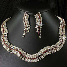 Unique Silve Plated Shining Rhinestone Necklace Jewelry Wholesale Fashion Charm Crystal Wedding Bridal Jewelry Sets For Women(China (Mainland))