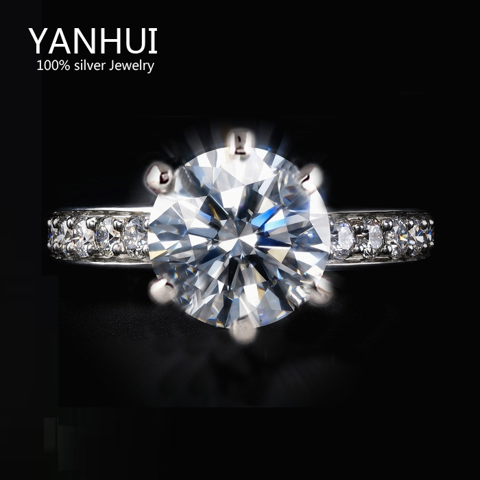 Lost Money 95% OFF!!! 18K White Gold Ring Set Luxury 8mm 1 Carat CZ Diamond Wedding Rings For Women Ring Size 5 6 7 8 9 JZR001(China (Mainland))