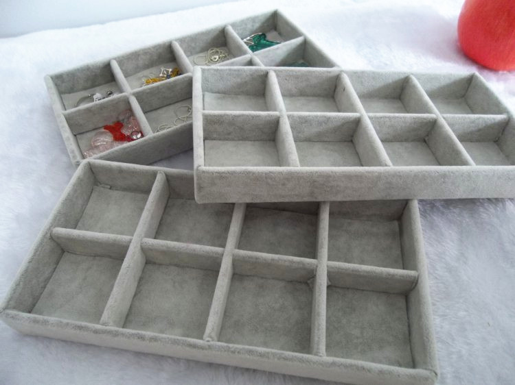 Free Shipping 2014 New Arrival Ice Velvet 8 Grids Jewelry Display Tray Jewelry Storage Box Four Color [ Grey ](China (Mainland))