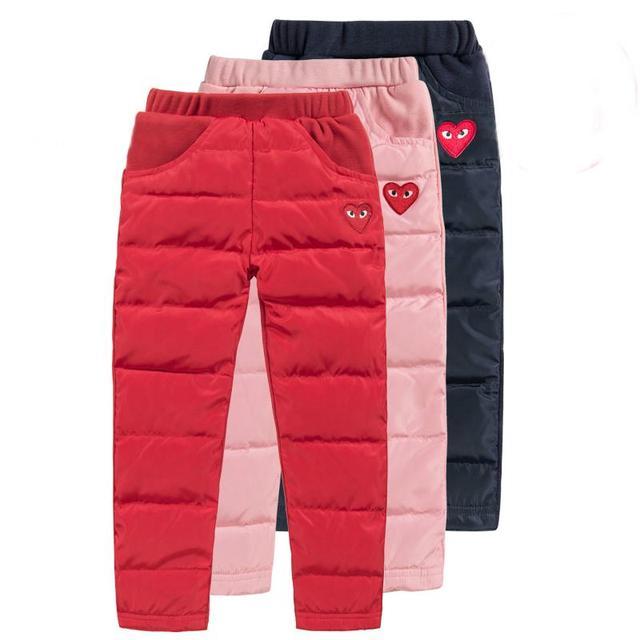Дети вниз брюки для девочки зимняя одежда теплый пуховик брюки плюс толстый бархат брюки зимние брюки любовь сердца детей брюки