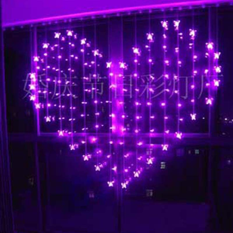 YIMIA 2x1.6m Heart Icicle Curtain Light 128 LED Holiday Christmas Lights 34 Butterfly LED String Fairy Lights Wedding Decoration(China (Mainland))