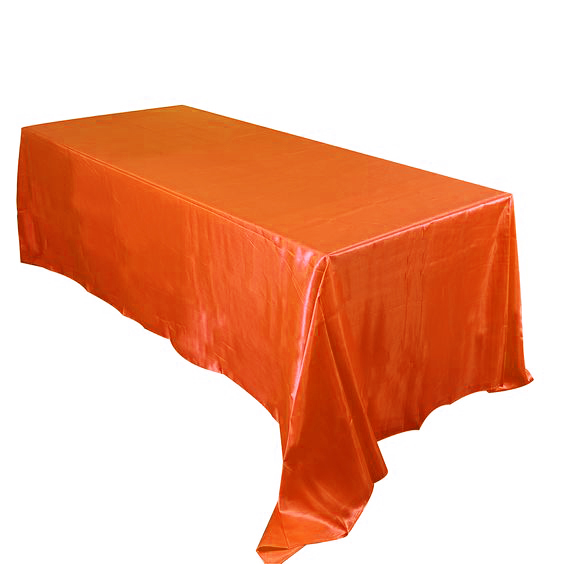 Coral orange 5pcs/ Pack 90 x 132 inch Rectangular Satin Tablecloth Table Cover for Wedding Party Restaurant Banquet Decorations(China (Mainland))