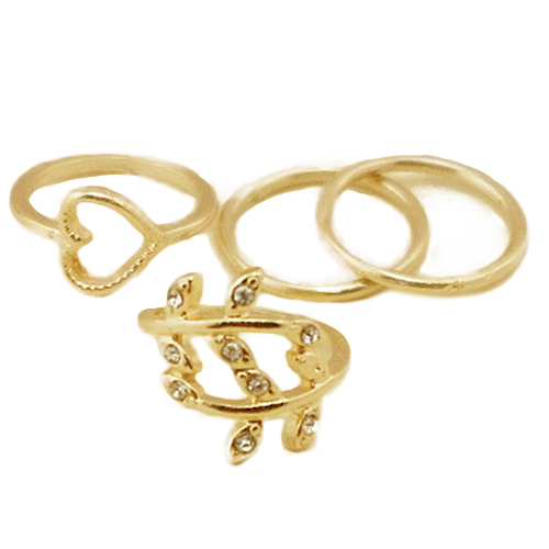 yard sale 4pcs set gold plated rings plain knuckle