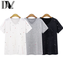 DIV Polka Dot Womens T-Shirt O-Neck Small Holes Designed Broadcloth Tops Street Style Casual Female Tshirt  Plus Size S-XL(China (Mainland))
