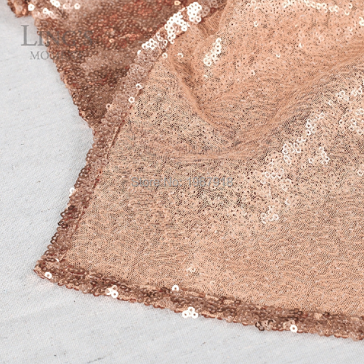 Free Shipping W L 30 275cm ABSOLUTELY GORGEOUS Beautiful Rose Gold Sequin Table Runners Wedding Table
