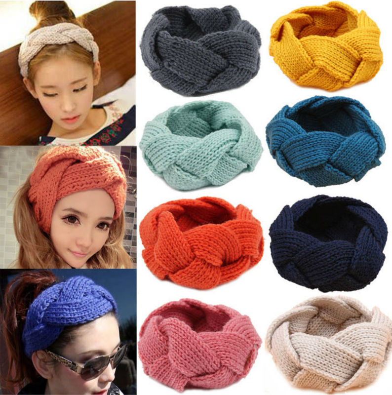 Retail 18color Pick Crochet Twist Knitted Headwrap Headband Winter Ear Warmer Hair Band for Women Accessories Drop shipping(China (Mainland))