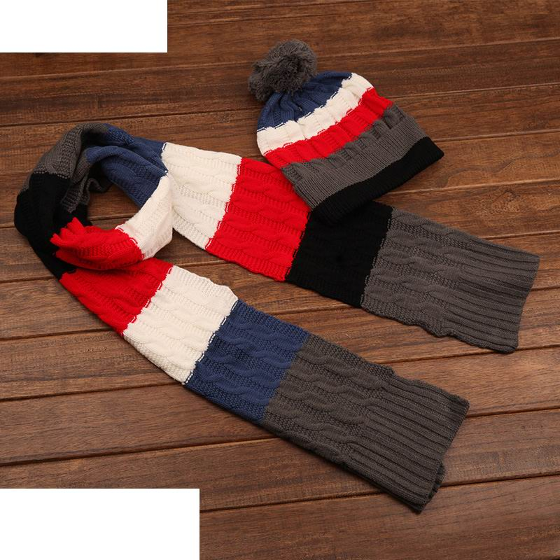 New Brand Unisex Warm Winter Cap Scarf Twinset Fashion Striped Cotton Male Warmth Sets Outdoor Windproof Thermal Women Hat Scarf(China (Mainland))