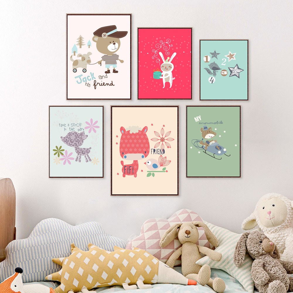 Cute Animal Cartoon Canvas Painting Wall Stickers For Kids Rooms Baby Room Wall Picture Poster For Home Decoration Paintings(China (Mainland))