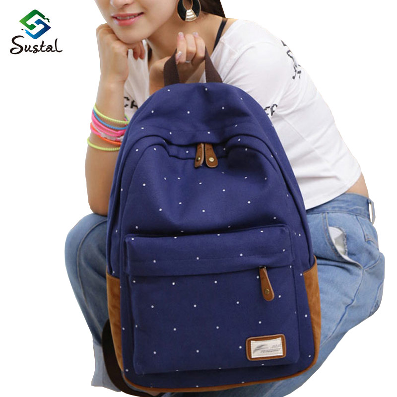 women Canvas Bag Brand Genuine Quality Floral Leather Backpack School for Teenager Girl Laptop Bag Printing