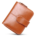 Trendy Fashion Cowhide Wallet Succinct Plain Buckle Small Coin Purse Korean Style Designer Solid Color Billfold