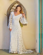 Buy Bohemian Style Lace Wedding Dresses 2017 Long Sleeves V Neck Sexy Backless Summer Beach Bridal Gowns Boho Bridal Wedding Dress for $129.00 in AliExpress store