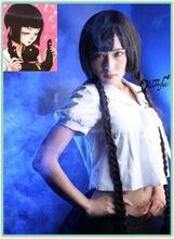 ZONE 00 Kinuko Ibara Long Brown Culy 100cm Cosplay Costume Wig(China (Mainland))