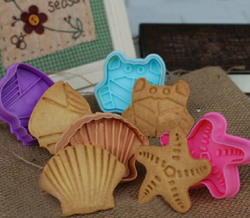 4PCS/ Set 3D Cookie Cutter Plunger Shell Conch Crab Starfish Shape Spring Fondant Cake Mold Sugarcraft Cooking Tools GH014(China (Mainland))