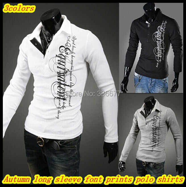 Free shipping European style Wholesale Autumn winter long sleeve slim fit Letter prints Polo shirts for men QR-1422(China (Mainland))