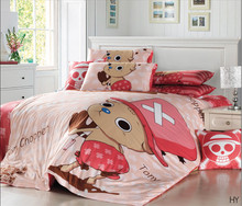 Free Shipping 4PCS 100% Pure Cotton Reactive Printed One Piece Anime Bedding Sets Full Queen Size Tony Tony Chopper Bedroom Set(China (Mainland))