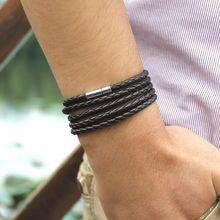 XQNI thương hiệu Đen Retro Bọc da Vòng tay nam kiểu lắc tay thời trang sproty Dây Chuyền liên kết nam vòng tay với 5 vòng(China)
