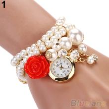 Women Watches Rose Flower Design Faux Pearl Round Dial Analog Quartz Bracelet WristWatches 2KMG