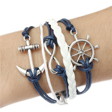Pulsera Brazalete Infinito Infinity Love Amor Anchor Bracelet Bangle Cuero Bracelet Regalo Vintage Braided Leather jewelry(China (Mainland))
