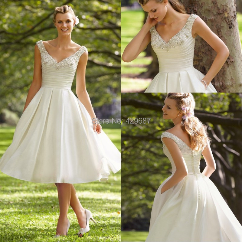 Custom made beach wedding dresses 2015 beaded v neck cheap for Cheap wedding dresses tea length
