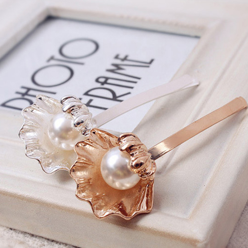 Elegant Fashion Shell Imitation Pearl Hairpins Barrettes for Women Girl Hairgrips Japanese Hair Accessories(China (Mainland))