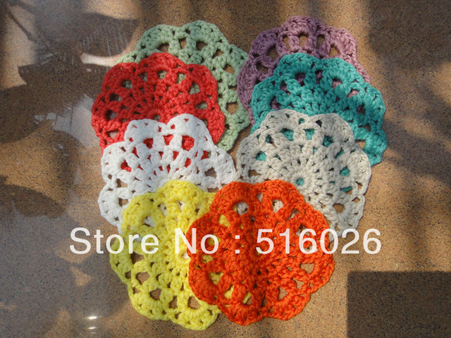 vintage crochet cup mats round motif doilies Crochet Applique headband flowers scrapbooking boutique handcraft 50pcs /lot