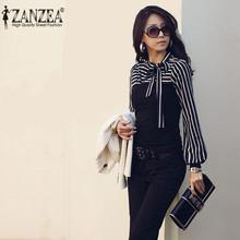 2015 New Fashion S-4XL Women OL Ladies Zanzea Stripe Tee Turtleneck Lantern Long Sleeve Tops T-shirts Black White(China (Mainland))