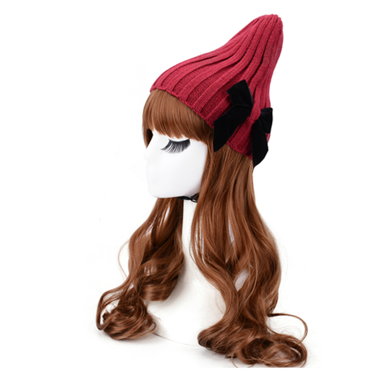 Fashion new promotional mother-child crochet pattern hats bow knitting cap girls lovely beanie ladies warm hats(China (Mainland))
