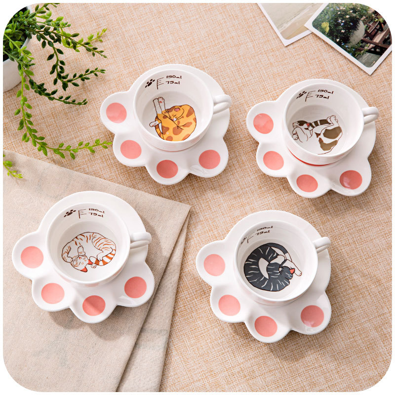 Korean creative ceramic coffee cup set simple dish catlike cute couple Milk dessert dish