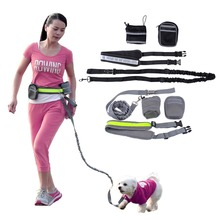 Elastic Belt Strap Waist Traction Rope Pets Leash Running Leash For Pets Dog Lead Rope With Water Bottle Holder + Dog Treats Bag(China (Mainland))