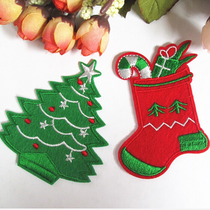 New arrival 2 mixed 10 pcs 7.8*6.6cm Christmas tree socks Embroidered patches iron on festival Applique embroidery accessory(China (Mainland))