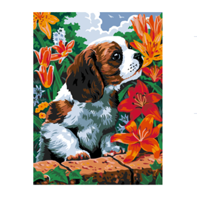 oil painting by numbers hand painted canvas oil paintings picture of dog and flower Wall frames for room size 30X40cm E006(China (Mainland))