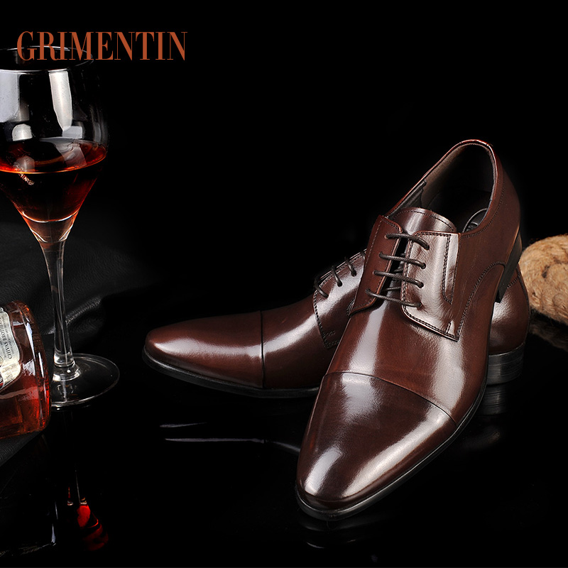 GRIMENTIN Fashion 2016 Men Shoes Italian Dress Shoes Luxury Designer Flats Brown Mens Office Shoes Genuine Leather Formal Shoes(China (Mainland))