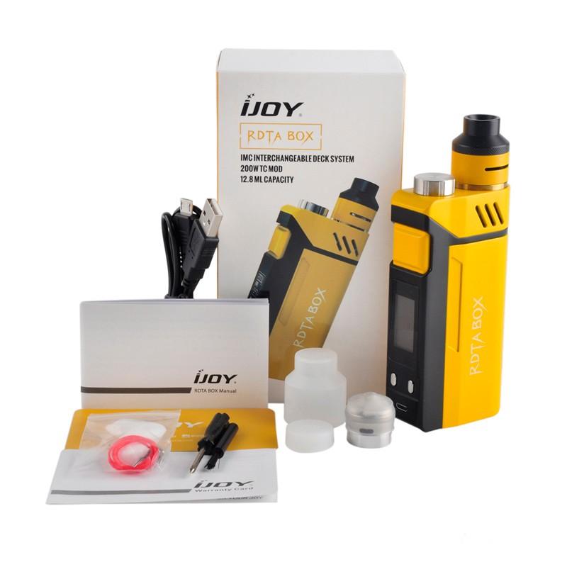 ถูก เดิมIJOY RDTAกล่อง200วัตต์ชุด12.8มิลลิลิตรในตัวถังเฟิร์มแวอัพเกรดIJOY 200วัตต์RDTAกล่องสมัยอิเล็กทรอนิกส์บุหรี่Vaporizer