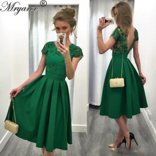 Buy Women Short Evening Dresses Cap Sleeves Lace Beading Tea Length Green Dress Open Back robe de soiree courte 2017 for $100.28 in AliExpress store